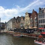 ベルギー・ゲント 運河沿いの景色
